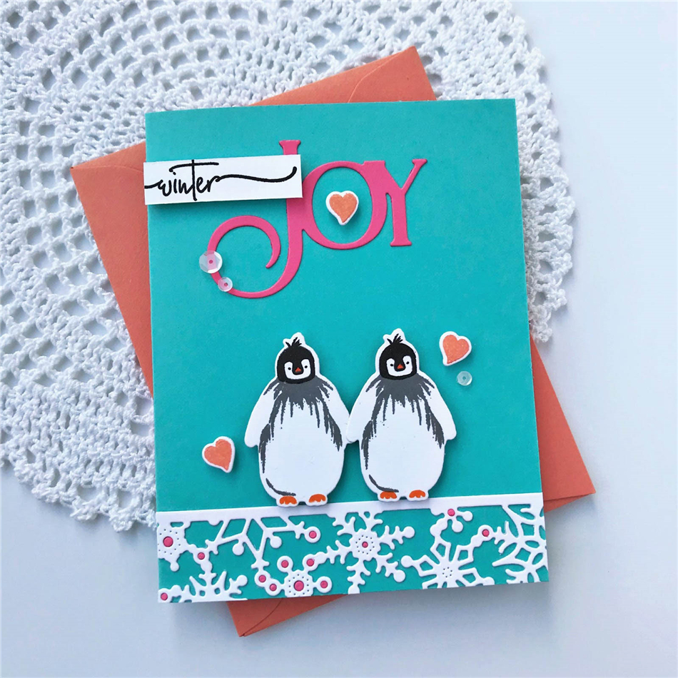 YaMinSanNiO Penguins Stamps and Dies Scrapbooking for Card Making DIY Album Craft Dies Embossing Metal Cutting Dies New 2019 in Cutting Dies from Home Garden