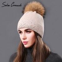 Sole Crowd 2017 Fashion Rhinestone Women Knitted Hats Beanies Winter Warm Cap Fluffy Natural Raccoon