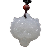 Drop shipping XinJiang White Jade Tiger Head Pendant Necklace Stone Amulet With Chain For Men Women