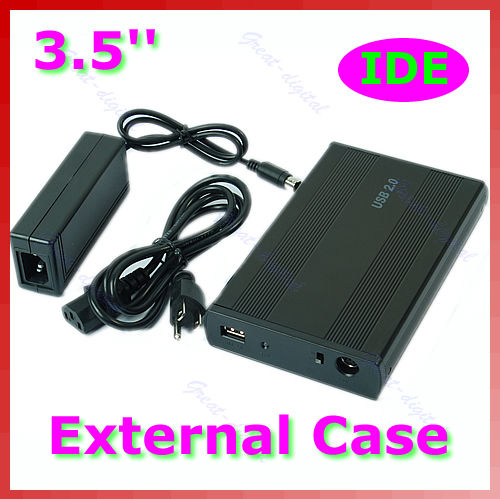 Durable USB 2.0 IDE HDD Hard Disk Drive Enclosure External Case Silver 3.5 Inch 2 5 ide usb 2 0 external hard drive enclosure case black