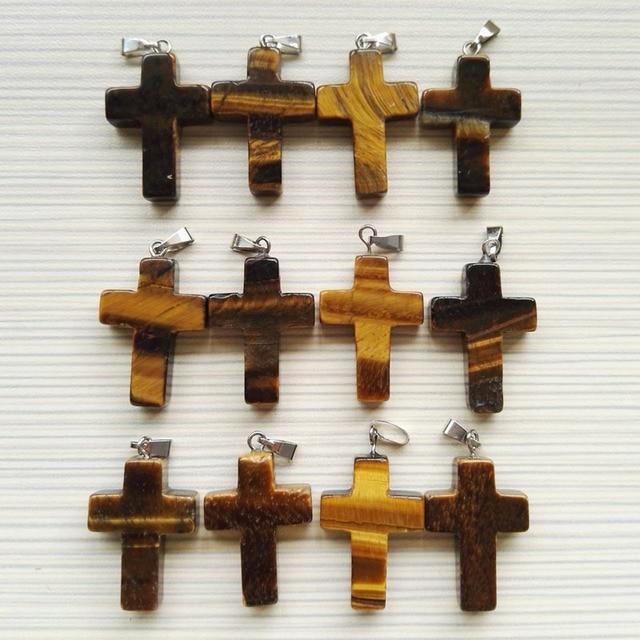 Fashion natural tiger eye stone cross pendants charms stone pendants fashion natural tiger eye stone cross pendants charms stone pendants for jewelry necklace making 12pcs aloadofball Image collections