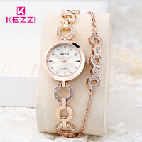 KEZZI Women Wristwatches Full Stainless Steel Bracelet Watch Hollow Pointer Japanese Movement Ladies Quartz Watch Reloj