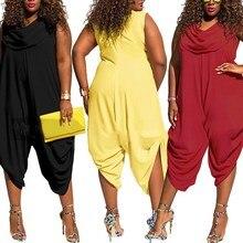 купить 2019 Summer Female Plus Size  Loose Jumpsuit Trousers Women Casual Long Pants Overalls White Black Romper по цене 1081.71 рублей