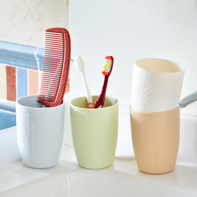 Eco-friendly Thick Circular Cups Toothbrush Holder Cup PP Rinsing Cup Wash Tooth Mug Bathroom Sets Makeup Brush Storage Holder