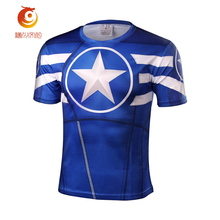 Polyester fiber t shirt 3d printed compression shirt fitness tights dry short sleeve t shirt men