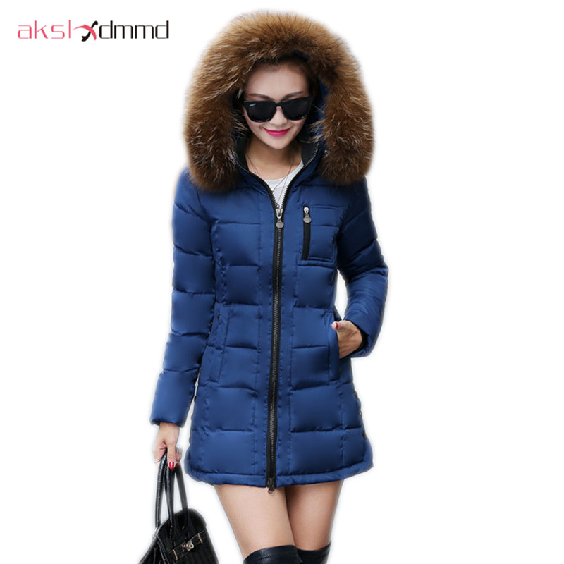 AKSLXDMMD women coat winter 2017 New Female Slim Down Cotton Jacket Hooded Faux Fur Collar Ladies Elegant Coat plus size DX620 plus size winter jacket new style women down cotton overcoat thick warm coat elegant slim hooded fur collar jacket female ok280