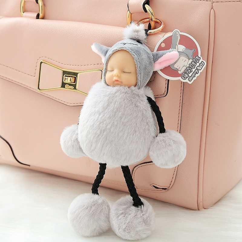 Спящая девочка бесплатно ноги плюшевый валовой шар силиконовый лицо девочка Спящая с малышом брелок-игрушка цепь девочки мешочек для украшений
