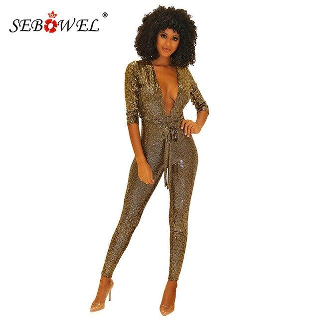 comment acheter pourtant pas vulgaire se connecter SEBOWEL Sexy Slim Sequin profond V combinaison pour femme printemps automne  2019 à manches longues combinaisons barboteuse salopette avec ceintures