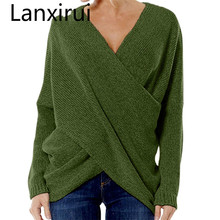 Lanxirui 2018 Fashion Pullovers High Quality Women 'S Gray Criss Cross Wrap Front V Neck Long Sleeve Knit Sweater Jumper Oct cross wrap front rib knit bardot tee