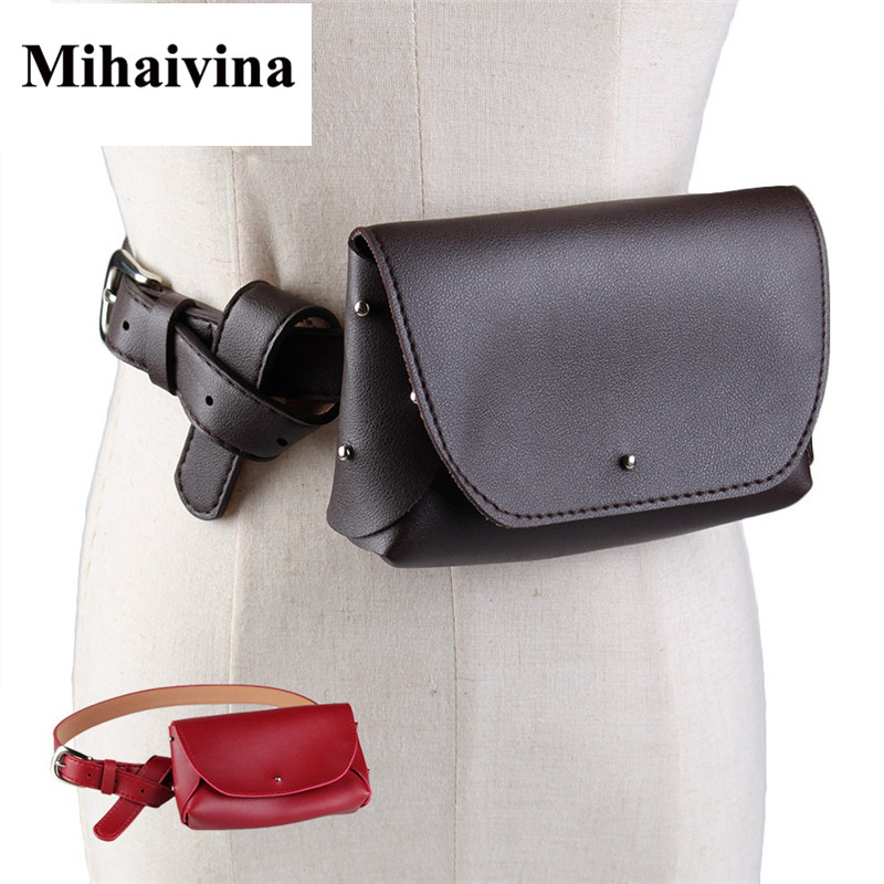 Mihaivina New Vintage Women Belt Bag Fashion Lady's Waist Leather Women Bags Pack Femal Phone Pouch Small Waist Pack Bag