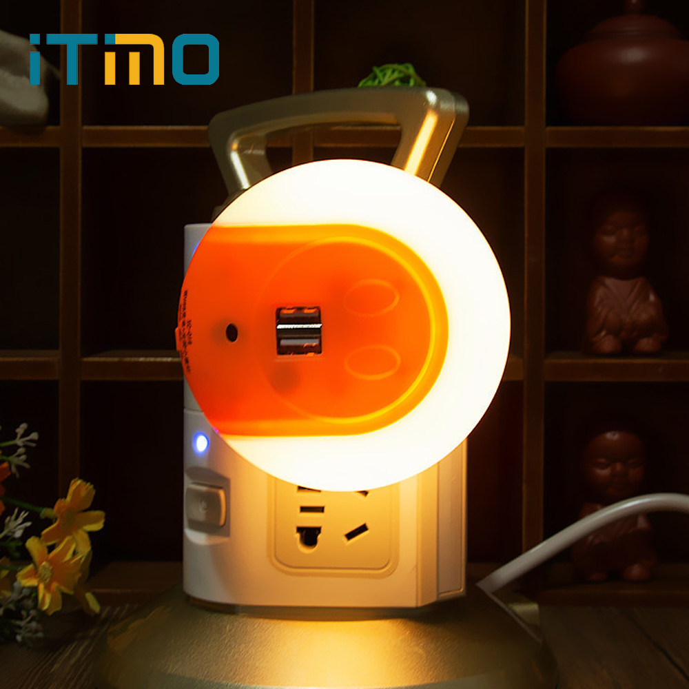 iTimo Novelty LED Night Light with 2 USB Port Light Sensor EU/US Plug Decoration Lamp for Bedroom Bedside Mobile Phone Charger itimo led night light baby sleeping kids bedside light bedroom decoration cartoon star night lamps novelty nightlight
