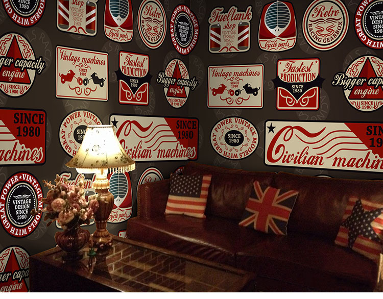 Free Shipping British style retro icon large mural leisure bar lounge Cafe theme KTV sofa bedroom living room wallpaper mural  free shipping cartoon pattern wallpaper leisure bar ktv lounge living room sofa children room background comics wallpaper mural
