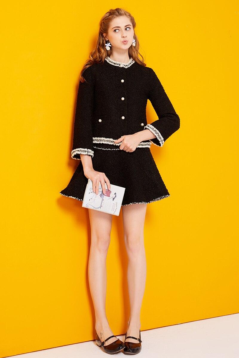 2017 Autumn Winter Suit Dress Women Full Sleeve Pocket Cute Tweed Cardigan Coat Mini Sexy Bodycon