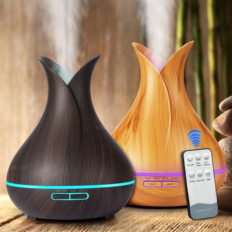 400ml Ultrasonic Aroma Difusor Aromatherapy Óleo Essencial Umidificador de Ar Elétrica Fabricante de Névoa fria para Casa Controle Remoto