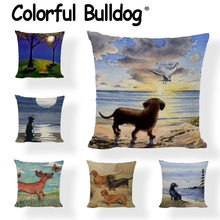 New Design Dachshund Cushion Covers Cute Animal Seagull Butterfly Painted Home Decor Living Room Couch Gifts Throw Pillows Cases(China)