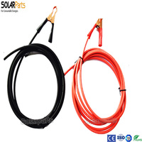 Solarparts 1sets 3M Red Black Solar Cable With Alligator Clips For Rechargeable Battery 12V Solar Panel