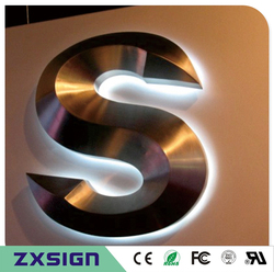 Custom made esterna impermeabile 3D posteriore illuminato in acciaio inox i segni della lettera di canale per il nome del negozio, negozio di segni, logo aziendale
