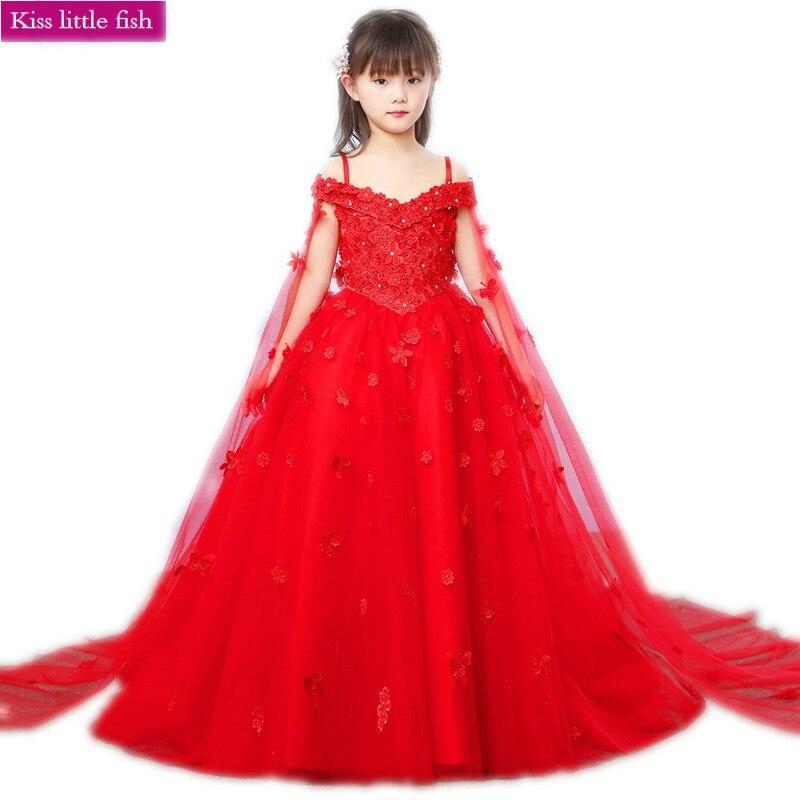 Free shipping Red long pageant dresses for girls Vestido infantil festa Flower dress