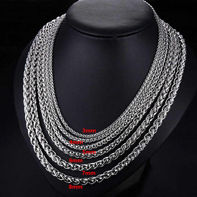 KLDY 316L Stainless Steel Neck Chain for men Gothic Men's chain necklace Silver Spiga Plait chain Jewelry wholesaler grossiste