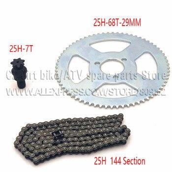 25H cadena 144 enlaces, 25H 68 dientes piñón trasero, 7 dientes eje de rueda dentado para triciclo eléctrico Mini bolsillo para Mini bicicleta ATV Quad