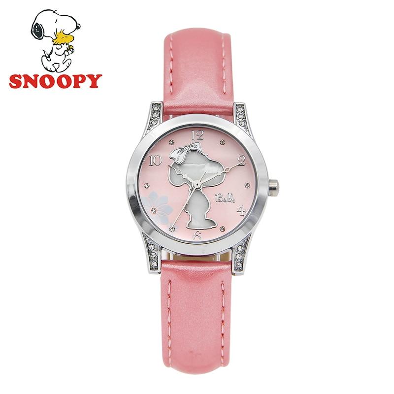 Snoopy Kids Watch Women chilidren Waterproof Shell Casual Fashion Cute Quartz Wristwatches Girls Leather Watchband clock