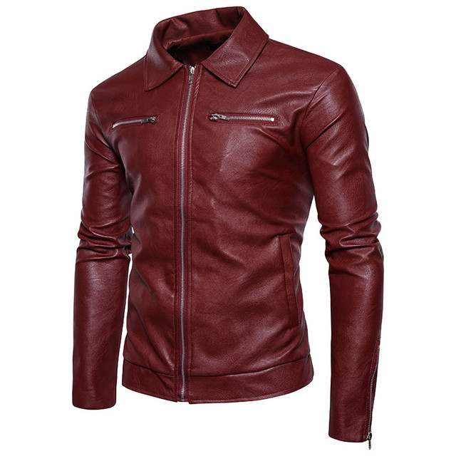 FeiTong Jacket Coat Men Autumn Men's Clothing Leather Biker Motorcycle Zipper Top Blouse Outerwear Coats Winter Jacket Male