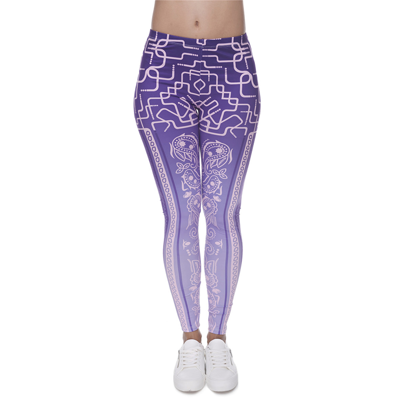 Women/Gilrs Funny Basic Leggings Lady Casual Town Wear Pant 3D Ombre Color With bandana deco purple Printing Slim Trousers