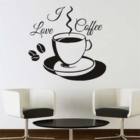 I Love Coffee Cup Wall Sticker Vinyl Hollow Out Home Decor DIY Removable Art Wall Mural
