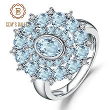 Gems Ballet Natural Sky Blue Topaz Gemstone Ring 925 Sterling Silver Vintage Flower Rings For Women Fine Jewelry