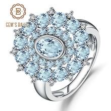 Gema ballet céu natural azul topázio anel de pedra preciosa 925 prata esterlina vintage flor anéis para mulheres jóias finas
