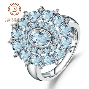 Image 1 - อัญมณีบัลเล่ต์ธรรมชาติ Sky Blue Topaz แหวนพลอย 925 เงินสเตอร์ลิงแหวนดอกไม้สำหรับเครื่องประดับ