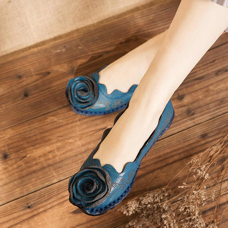 Nieuwe Vintage Handgemaakte Mocassins schoenen Vrouwen Flats Casual Schoenen Echt Lederen Schoenen Zachte Bodem Loafers Mode Moeder Schoenen
