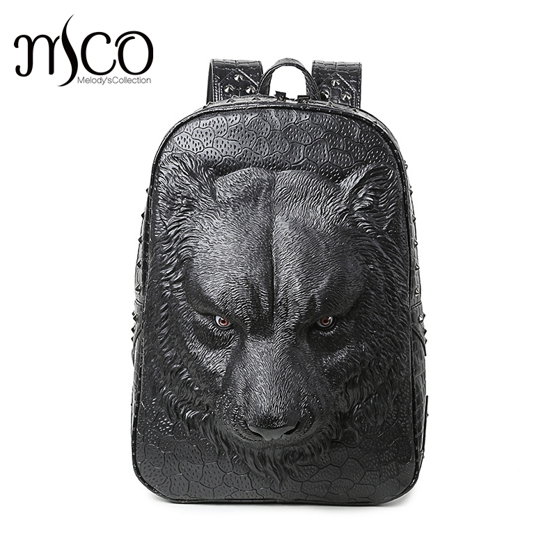 New Animal Grain Man Backpack Hot Wolf 3D Emboss Laptop Travel hop trend Bag  Large Capacity PU Leather Women School Fashion bags 0681f67f0d625