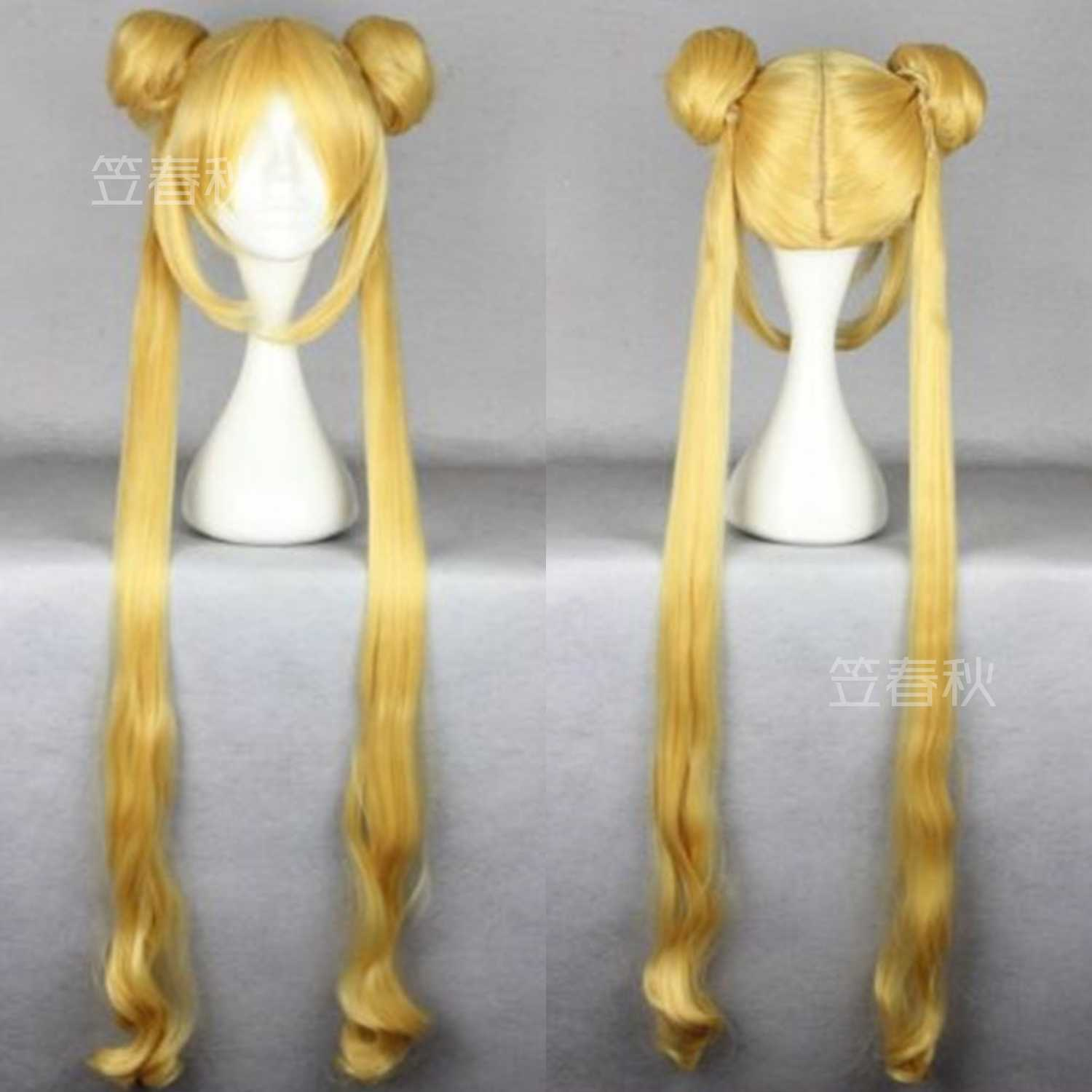 Classic Tokyo Anime Tsukino Usagi Gold Wig Sailor Moon Long Blonde Ponytails Cosplay Hair Full Wigs Reliable Performance