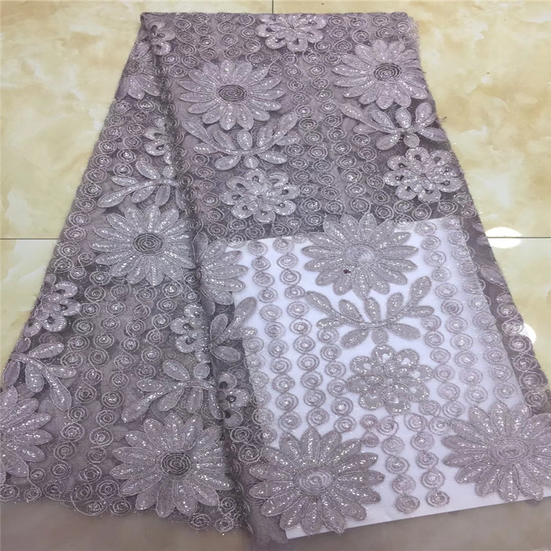 2019 latest sequins french lace fabric high quality nigerian tulle lace fabric for luxury evening dresses