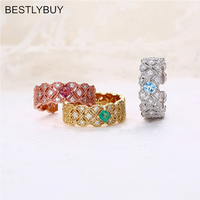 BESTLYBUY Classic Ring with Nautral blue topazs emeralds cut oct 3*3mm in 925 sterling silver jewelry with gift box
