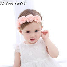 Naturalwell Flower headband bandage Lace hairband Girls hairpiece Child hair accessory Baby hairband Newborn shower gift HB090