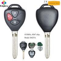 Keyecu Paar Afstandsbediening Auto Sleutel Met 3 Knoppen & 433 Mhz & 4D67 Chip-Fob Voor Toyota Hilux 2005 2006 2007 2008 Mdl: b42TA