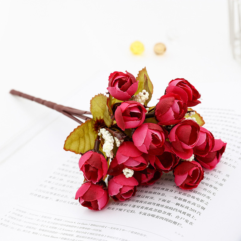 22 Cm Rose Pink Silk Peony Artificial Flowers Bouquet 5 Big Head Fake Flowers For Home Wedding Decoration Indoor Sztuczne Kwiaty