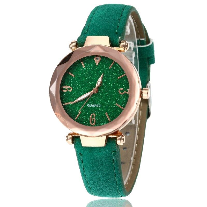 Маленькие свежие мягкие часы женские повседневные кварцевые часы кожа алмазный обруч звездное небо часы Женские Аналоговые наручные часы 100 шт/партия - Цвет: Зеленый