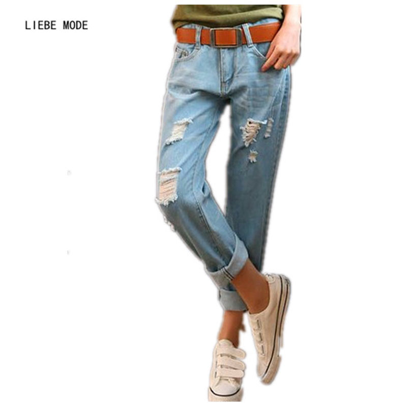 Casual Holes Mid-Rise Ripped Boyfriend Jeans Women Denim 2017 Spring Summer Capris Jeans Female Jeans Harem Pants Plus Size 38 flower embroidery jeans female blue casual pants capris 2017 spring summer pockets straight jeans women bottom a46
