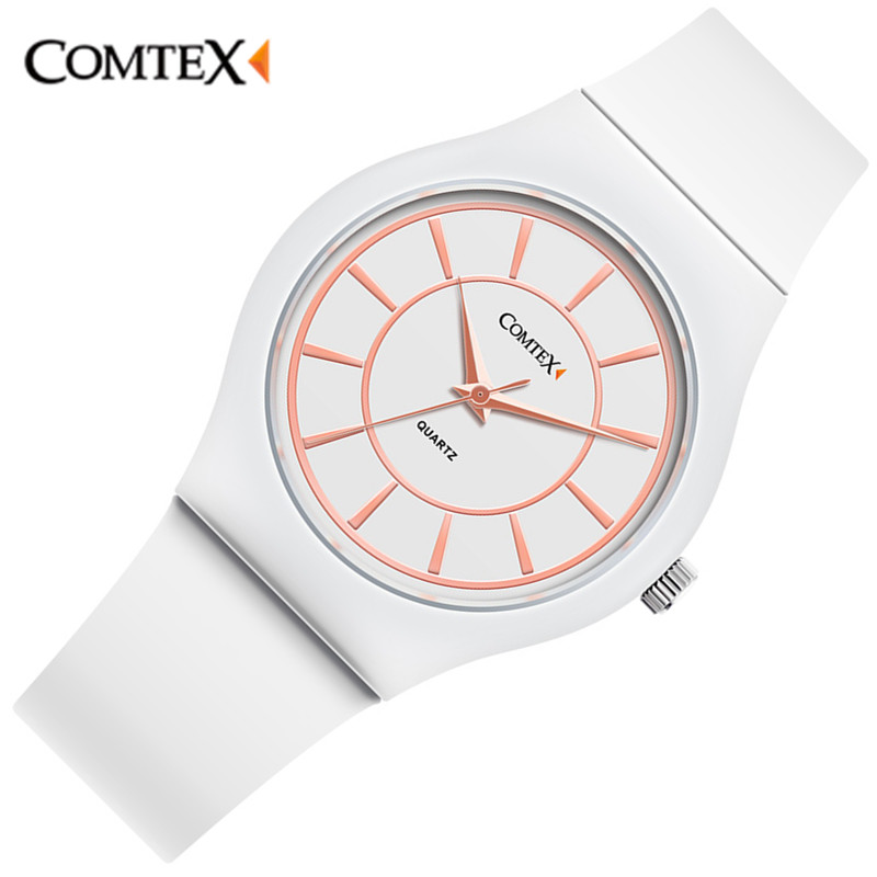 ФОТО 2017 Women Mens Leisure Sports Wristwatches Clock White Silicone Band COMTEX Brand Large Dial Waterproof New Style women watch