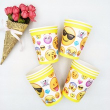 10pcs/set Kid Favors Smiley Face Paper Cups Smiling Emoji Party Supplies Baby Shower Tableware Birthday Decoration