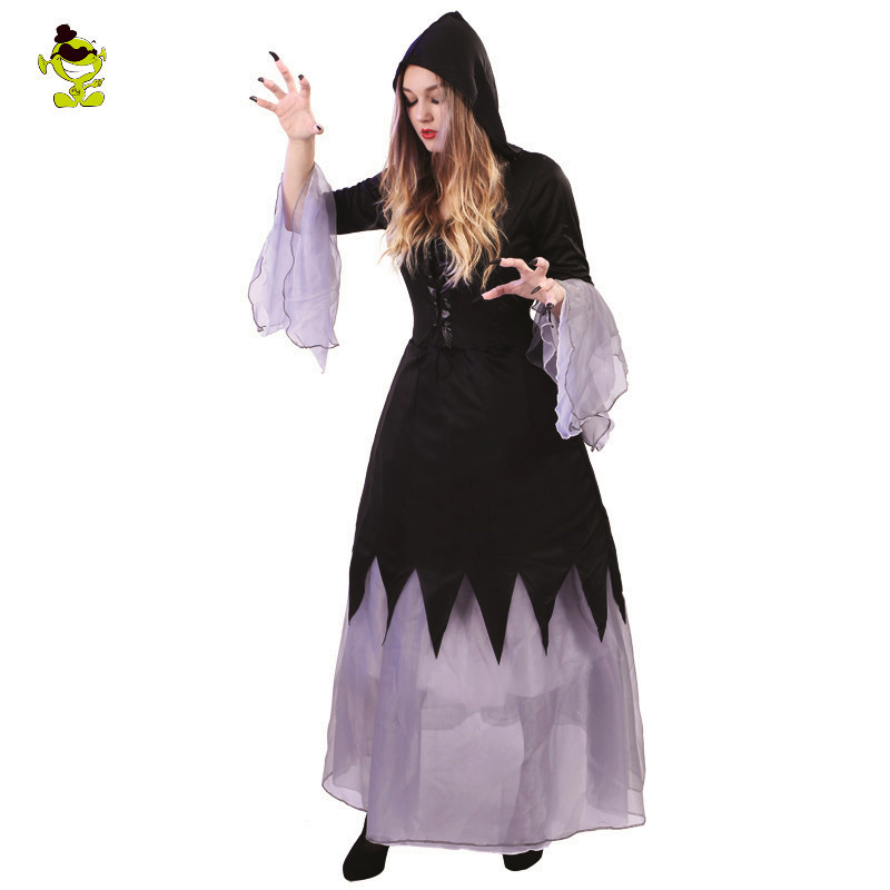 Adults Scarlet Witch Costumes Madame's  Black Long Witch Dress For Halloween Carnival Party Cosplay Costume
