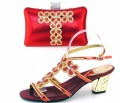 African Shoe And Bag Set For Party In Women Beautiful Designs Heel Pumps Italian Matching Shoe And Bag Set With Stones TH16-48