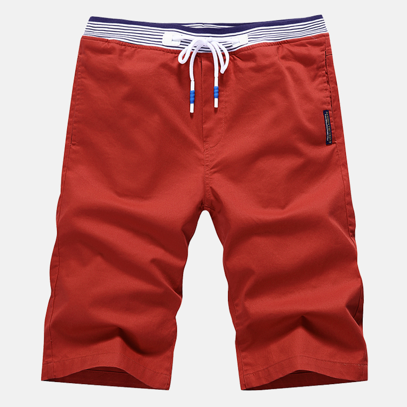Summer New Men's Shorts, Loose Casual Stretch Elastic Waist Shorts, Solid Color Cotton Large Size Sports Shorts S-4XL