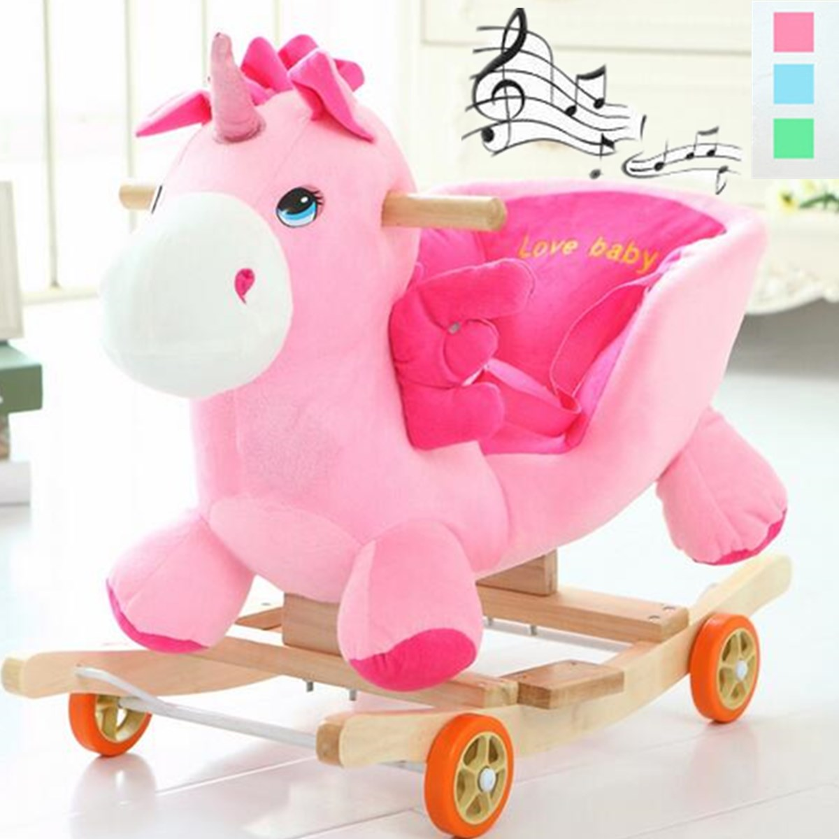 Multi function Wooden Plush Animal Rocking Horse Trojan toy Rocking Chair Baby Carriage Child Trolley With Music Kids Gift
