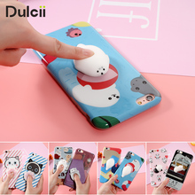 Lovely 3D Soft lazy Cat phone Cases for iPhone 6Plus 7 7Plus Capa 3D Cartoon Cute Seal Kneading TPU Squishy Cover for iPhone 6 7