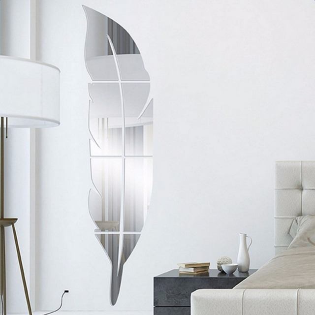 Home Decoration Accessories 73x18cm Diy Modern Feather Acrylic Mirror Wall Stickers Room Silver Bedroom