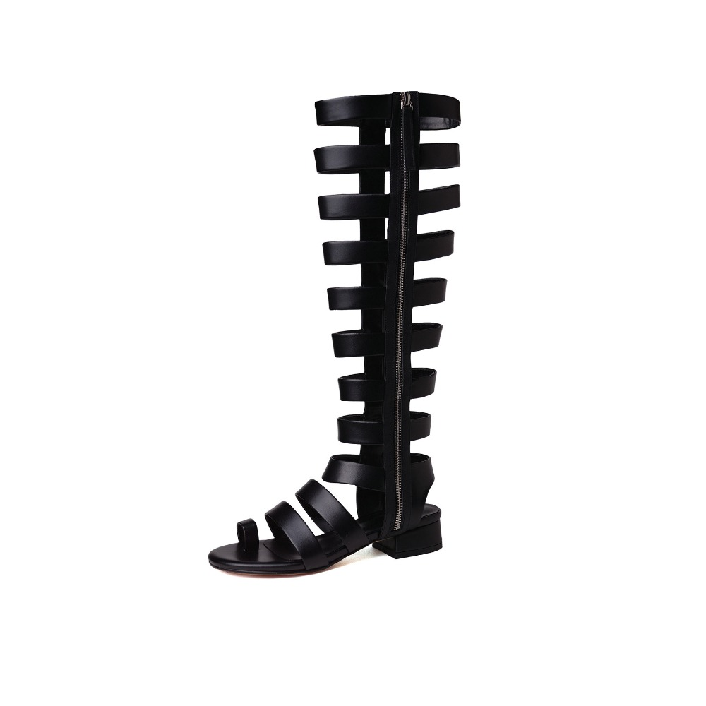 Summer Knee High Genuine Leather Gladiator Sandals Fashion Zipper Womens Sandals Block Mid Heel Casual Party Shoes Beige Black